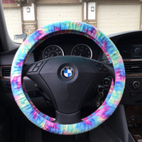 Tie Dye Flannel Steering Wheel Cover