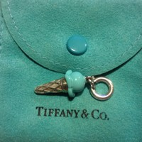 Tiffany & Co. -  Ice cream cone charm in silver with Tiffany Blue® enamel finish on a chain.