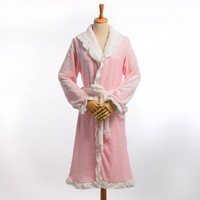 Winter Warm Fleece Bathrobes Women Sweet Thicken Flannel Long Sleeve Sleeping Robes Sleepwear Pajamas