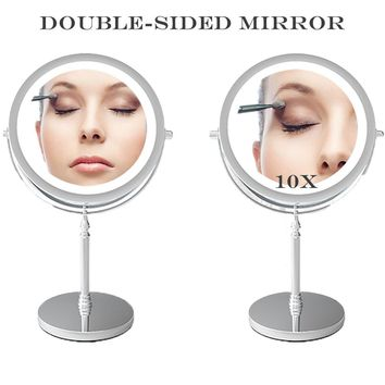 HD Mirror with Light 10X Magnifying Double-Sided Lighted Makeup Mirror Daylight LED Vanity Mirror Bedroom Cosmetic Mirror