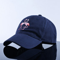 Flamingo Embroidered Curved Brim Baseball Cap Navy Blue Dad Hat