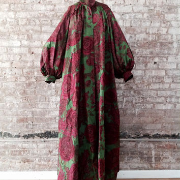 Yves Saint Laurent 1980's vintage fine silk rose print angel belle sleeve opera duster coat Made in France RARE!  Museum A majestic ROSE!