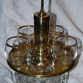 Vintage Brass and Glass Brandy Dispenser with