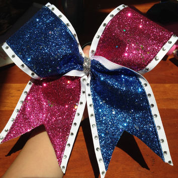 Sparkle and Rhinestone Cheer Bow by CheerLoveBows on Etsy