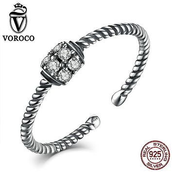 VOROCO Authentic 925 Sterling Silver Twisting Rings Band Finger Open Adjustable Ring Woman & Lady Fine Jewelry VSR025