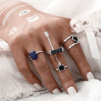 4 PCS Colored Stone Midi Rings
