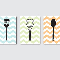 Kitchen Wall Art Trio - Kitchen Utensils Silhouettes - Set of Three 8 x 10 Prints - Room Decor on chevron or your choice of backround