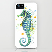 Seahorse: Jeweled Green iPhone & iPod Case by Samantha