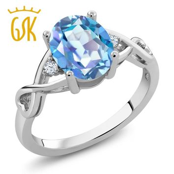 GemStoneKing 1.85 Ct Oval Millennium Blue Mystic Quartz White Topaz 925 Sterling Silver Three Stone Engagement Rings