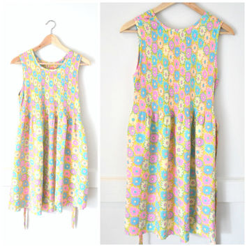 90s NEON floral dress / early 1990s GRUNGE baby doll club kid DAISY print day glow mini dress