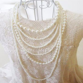 Womens Dramatic Fashion Exquisite Multilayer Pearl Charm Necklace