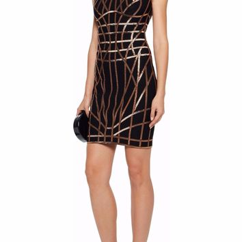 Gold Foil Print Black Bandage Dress
