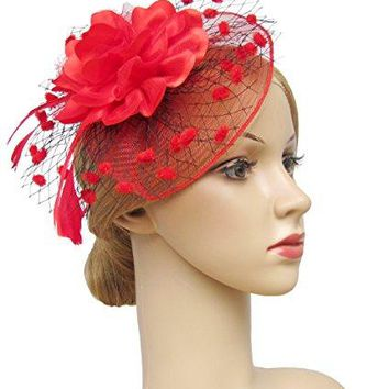 KCLASSIC Fascinators Hats for Womens 50s Headwear with Veil Flower Cocktail Wedding Tea Party Hat