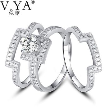 VYA 100% Real Genuine 925 Sterling Silver Ring 3 Part S925 Solid Silver Rings for Women Jewelry CR60