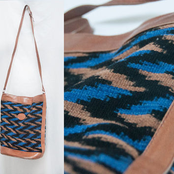 Vintage Leather Aztec Woven Carpet Kilim Bag | Boho Hippie Crossbody Purse Native American Blue Black Brown Ethnic Southwestern Biker Purse