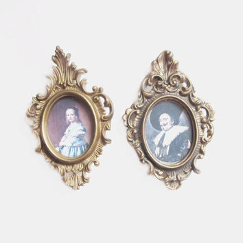 Vintage Cameo Wall Art, Fancy Plastic Frames