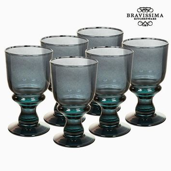 Recycled Wine Glasses (6 pcs) 250 ml Grey - Crystal Colours Kitchen Collection by Bravissima Kitchen