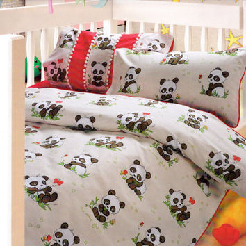 Custom Red Brown Beige Cuccino Panda Bear Printed Kid Bedding Set For Baby Tod