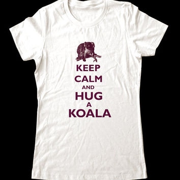 Keep Calm and Hug a Koala TShirt Printed on by keepcalmstore