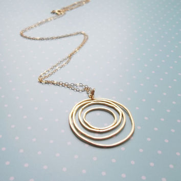 Long Circle Necklace, Geometric Necklace, Long Necklace, Pendant Necklace, Dainty Long Necklace