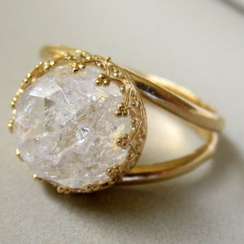 Crystal quartz ring, Gemstone ring,  Gold ring, Vintage ring, cocktail ring, Ice quartz ring, Bridal ring, 10 mm Gemstone ring