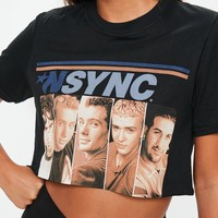 Missguided - Black Nsync Graphic Crop TShirt