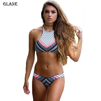 2017 New Design Biquini High Neck Swimwear Women Sexy Push Up Bikini Set Retro Vintage Print Swimsuits Brazilian Bathing Suits