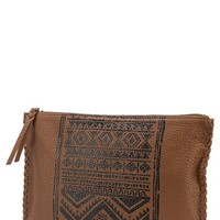 Junior Women's Volcom Faux Leather Print Clutch - Brown