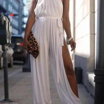 White Sashes Draped Slit Halter Neck One Piece High Waisted Party Long Jumpsuit