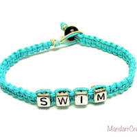 Teal Swim Bracelet, Macrame Hemp Jewelry for Swimmers, Fitness Motivation