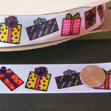 Gift Design Satin Ribbon, Fancy gift wrapped packages, lovely bows and many colors.  One inch wide satin trimming