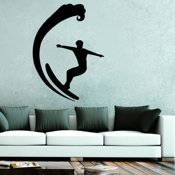 Surfing Wall Decals Surfer Vinyl Sticker Decal Sports Sea Ocean Home Decor SM36
