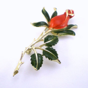 Vintage Rose  Flower  Brooch Red  Green Enameled Pin Spring jewelry