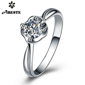 ANI 18K Solid White/Yellow/Rose Gold (AU750) Wedding Ring Certified SI 0.3 CT Solitaire Round Real Diamond Jewelry 18k gold ring