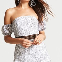 Crochet Lace Off-the-Shoulder Romper