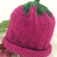 Baby Hat 0-3 mos Berry Hat Leaves Fuchsia Dark Sage Caron Simply Soft