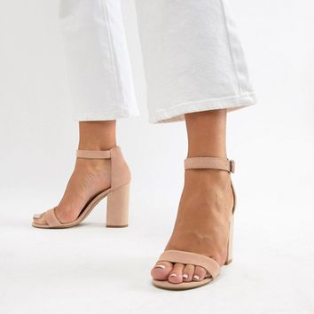 New Look Real Suede Barely There Block Heeled Sandal at asos.com