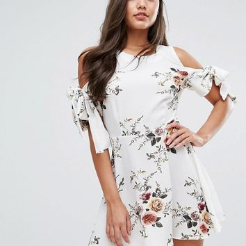 Missguided Floral Tie Sleeve Dress at asos.com