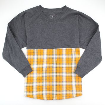 Orange and White Plaid Pom Pom Jersey