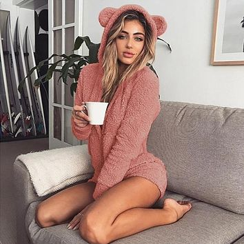 liva girl women Pajama Kigurumi for Adults Autumn Winter Hooded Rabbit Ear Fleece Onesuit Women Velvet Onesuits Jumpsuit Pajamas