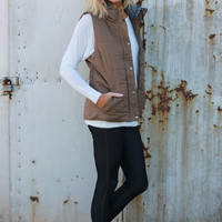 Out Of My League Quilted Vest With Hood ~ Mocha ~ Sizes 4-10