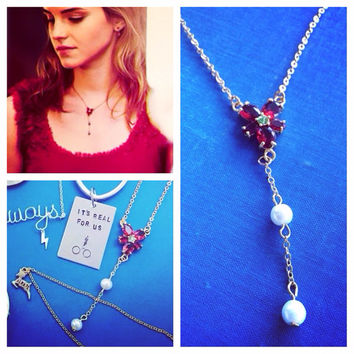 Hermione Granger Replica Red Flower & Pearl Harry Potter And the Deathly Hallows Inspired Necklace