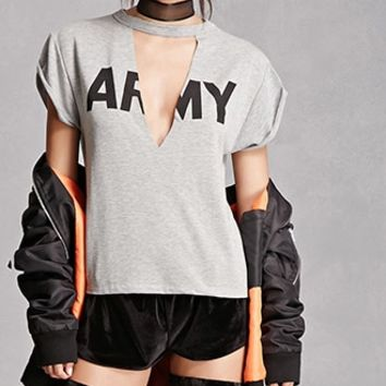 Army Graphic Marled Cutout Top