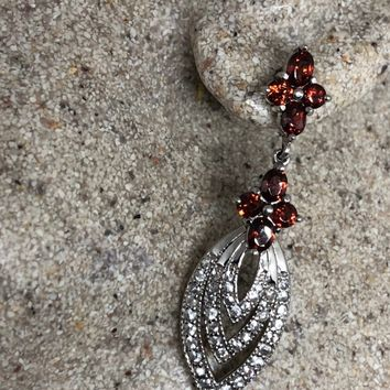 Vintage Handmade 925 Sterling Silver Bohemian heart Garnet Earrings