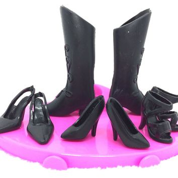 NK 4 pairs/Set Mix Style Black Doll Shoes Fashion  Boot Cute Heels Sandals For Barbie Doll  High Quality Baby Toy