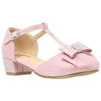 Kids Dress Shoes T-Strap Bow Accent Glitter Rhinestone Mary Jane Pumps Pink