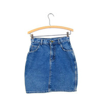 Vintage denim skirt Mini jean skirt 80s Hipster High waist Pocket skirt Worn In Miniskirt 1980s XS Small