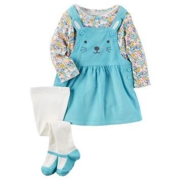 Baby Girl Carter's Print Tee Embroidered Corduroy Jumper & Tights Set