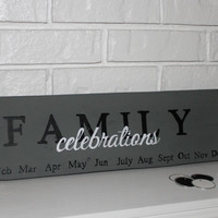 Family Celebrations Handmade Hand Painted Wood Calendar Sign