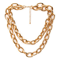 FOREVER 21 Chunky Layered Chain Necklace Gold One